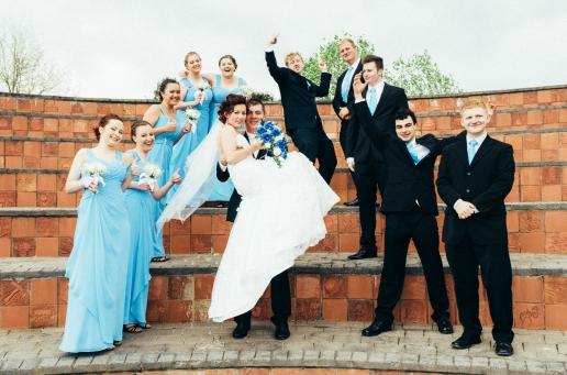 Holly & Alex's Bridal Party Celebrating the Ceremony